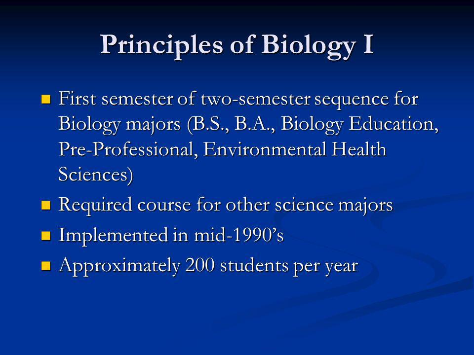 Principles of Biology I First semester of two-semester sequence for Biology majors (B.S., B.A., Biology Education, Pre-Professional, Environmental Hea