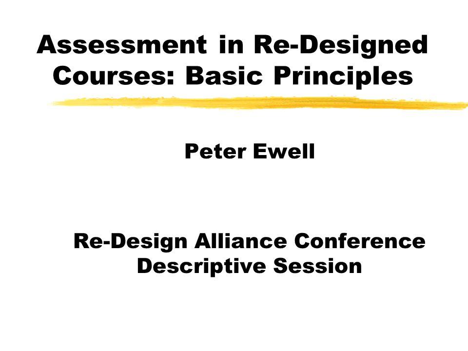 Assessment in Re-Designed Courses: Basic Principles Peter Ewell Re-Design Alliance Conference Descriptive Session