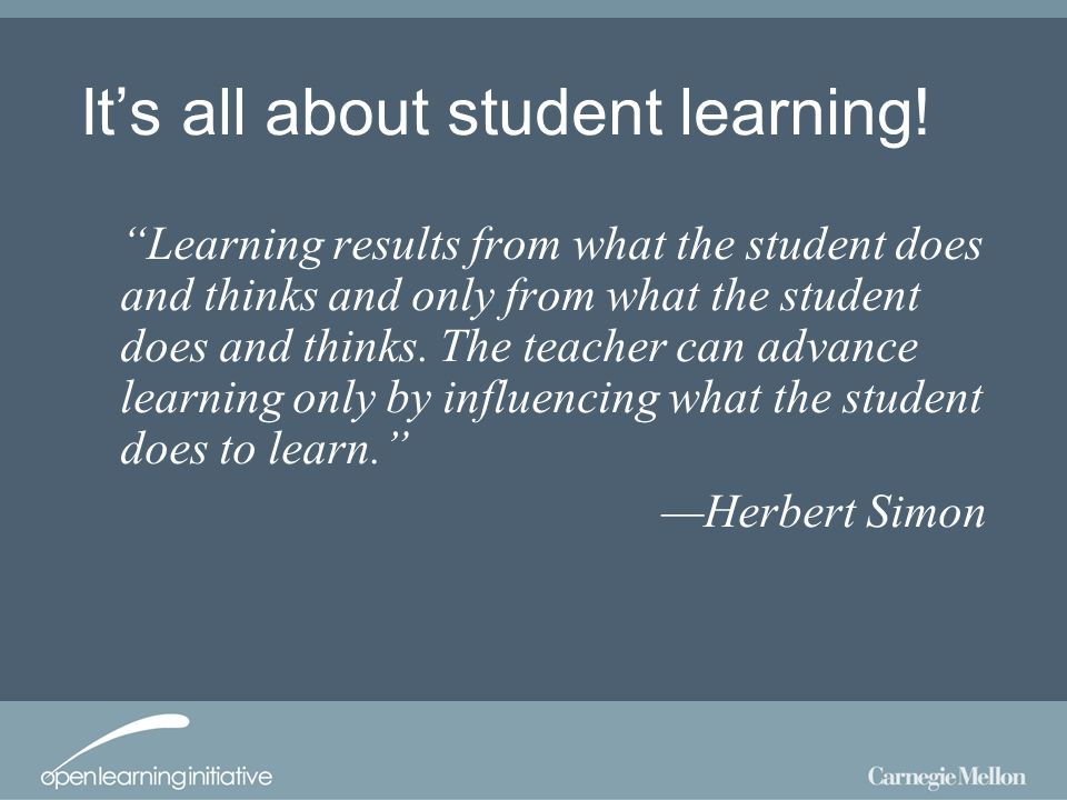 Its all about student learning.