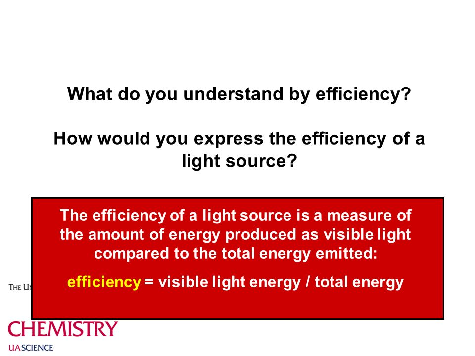 What do you understand by efficiency. How would you express the efficiency of a light source.