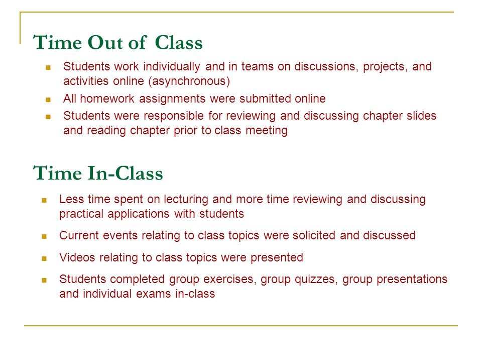 Time Out of Class Students work individually and in teams on discussions, projects, and activities online (asynchronous) All homework assignments were submitted online Students were responsible for reviewing and discussing chapter slides and reading chapter prior to class meeting Time In-Class Less time spent on lecturing and more time reviewing and discussing practical applications with students Current events relating to class topics were solicited and discussed Videos relating to class topics were presented Students completed group exercises, group quizzes, group presentations and individual exams in-class