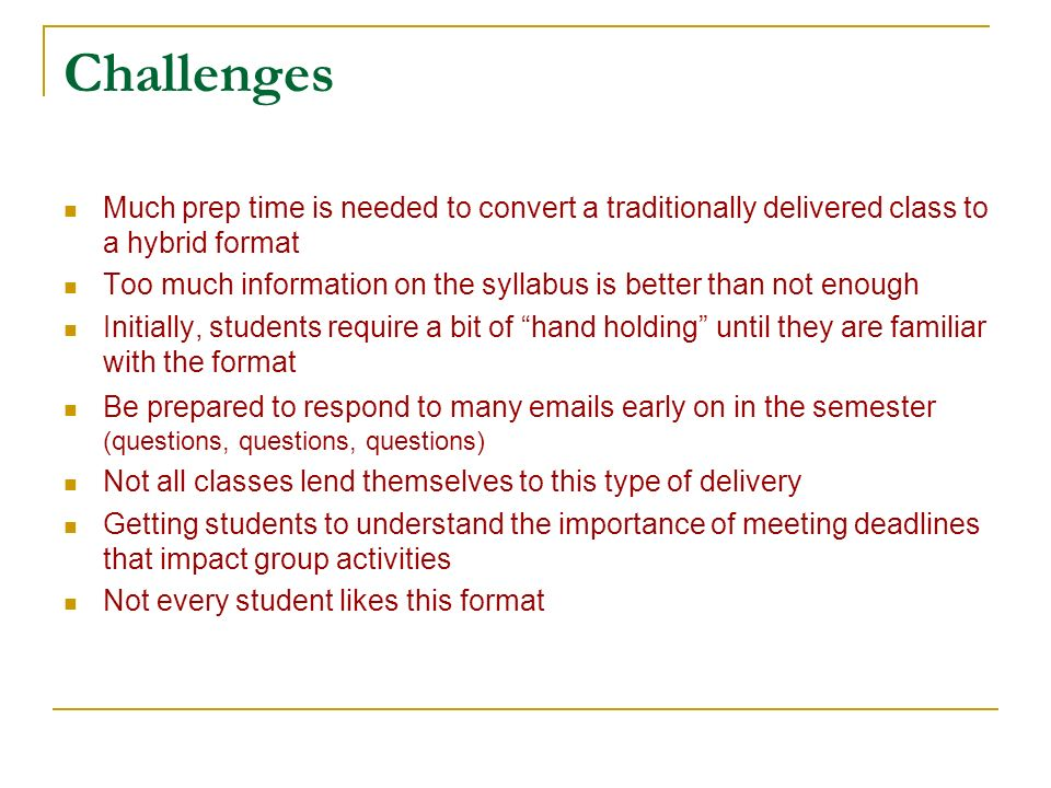 Challenges Much prep time is needed to convert a traditionally delivered class to a hybrid format Too much information on the syllabus is better than not enough Initially, students require a bit of hand holding until they are familiar with the format Be prepared to respond to many  s early on in the semester (questions, questions, questions) Not all classes lend themselves to this type of delivery Getting students to understand the importance of meeting deadlines that impact group activities Not every student likes this format
