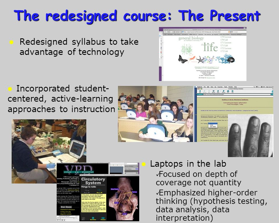 The redesigned course: The Present l Redesigned syllabus to take advantage of technology l Incorporated student- centered, active-learning approaches to instruction l Laptops in the lab Focused on depth of coverage not quantity Emphasized higher-order thinking (hypothesis testing, data analysis, data interpretation)