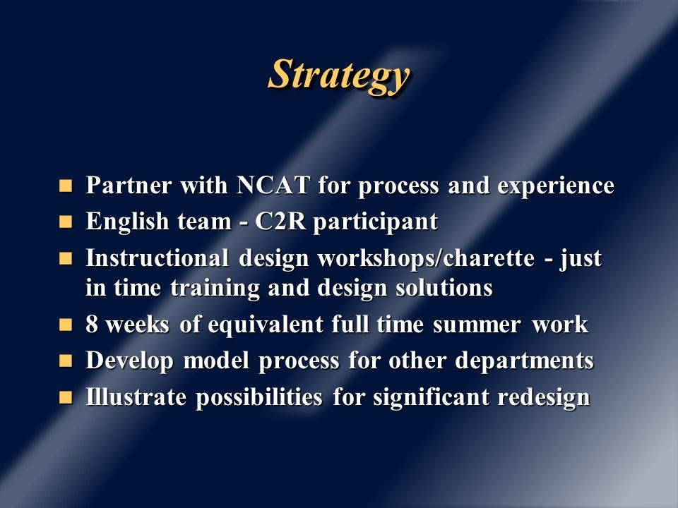 StrategyStrategy Partner with NCAT for process and experience Partner with NCAT for process and experience English team - C2R participant English team