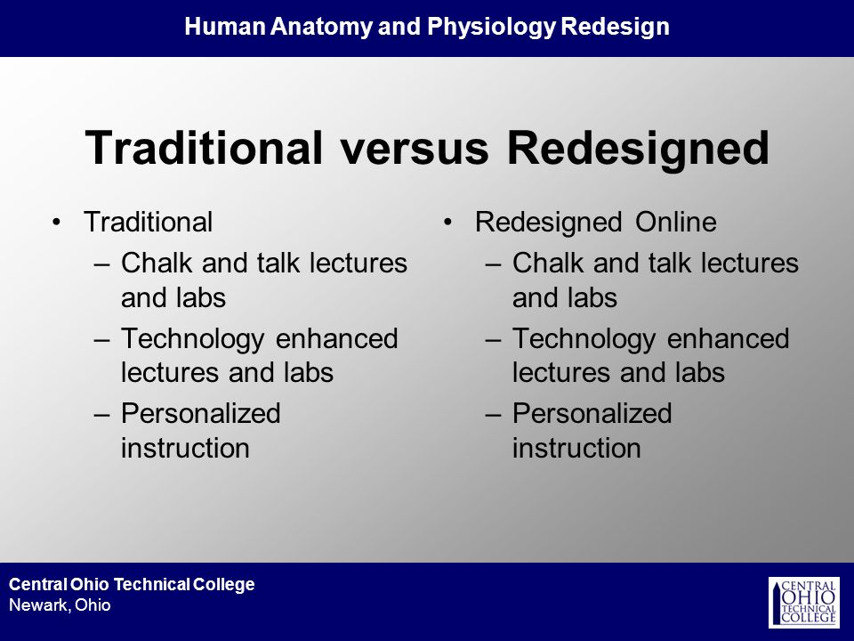 Human Anatomy and Physiology Redesign Central Ohio Technical College Newark, Ohio Traditional versus Redesigned Traditional –Chalk and talk lectures a