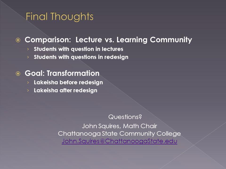 Comparison: Lecture vs.
