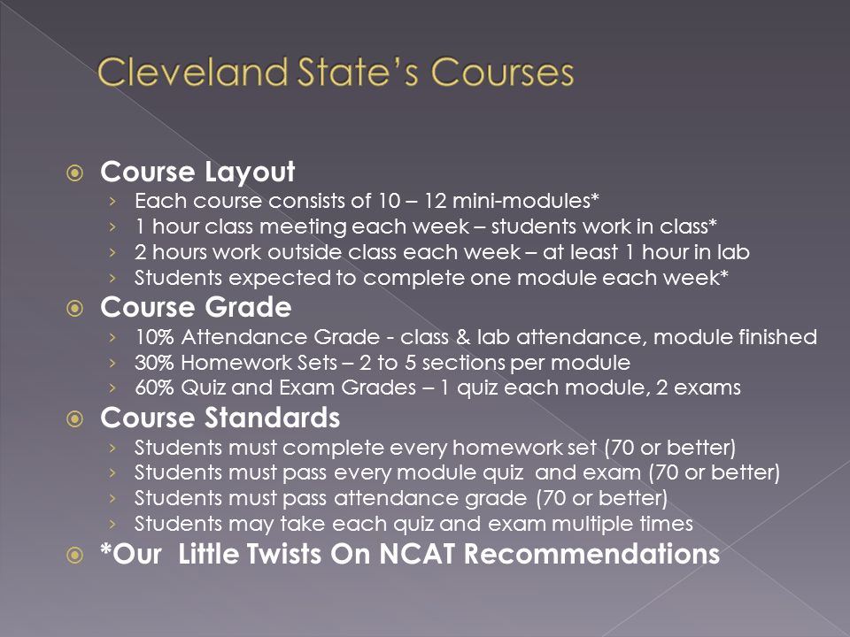 Course Layout Each course consists of 10 – 12 mini-modules* 1 hour class meeting each week – students work in class* 2 hours work outside class each w