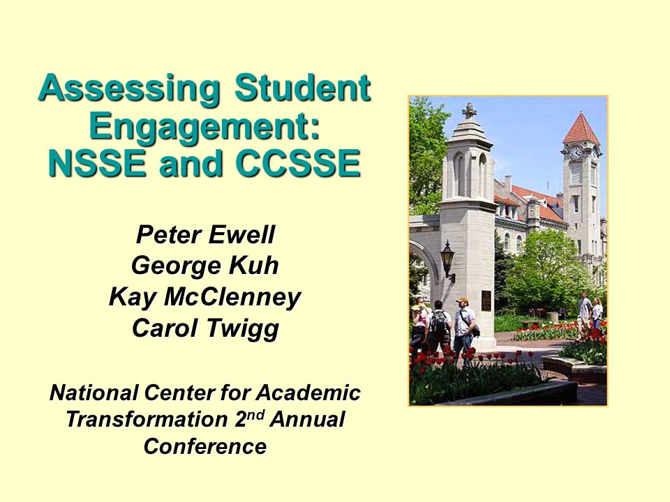 Peter Ewell George Kuh Kay McClenney Carol Twigg National Center for Academic Transformation 2 nd Annual Conference Assessing Student Engagement: NSSE