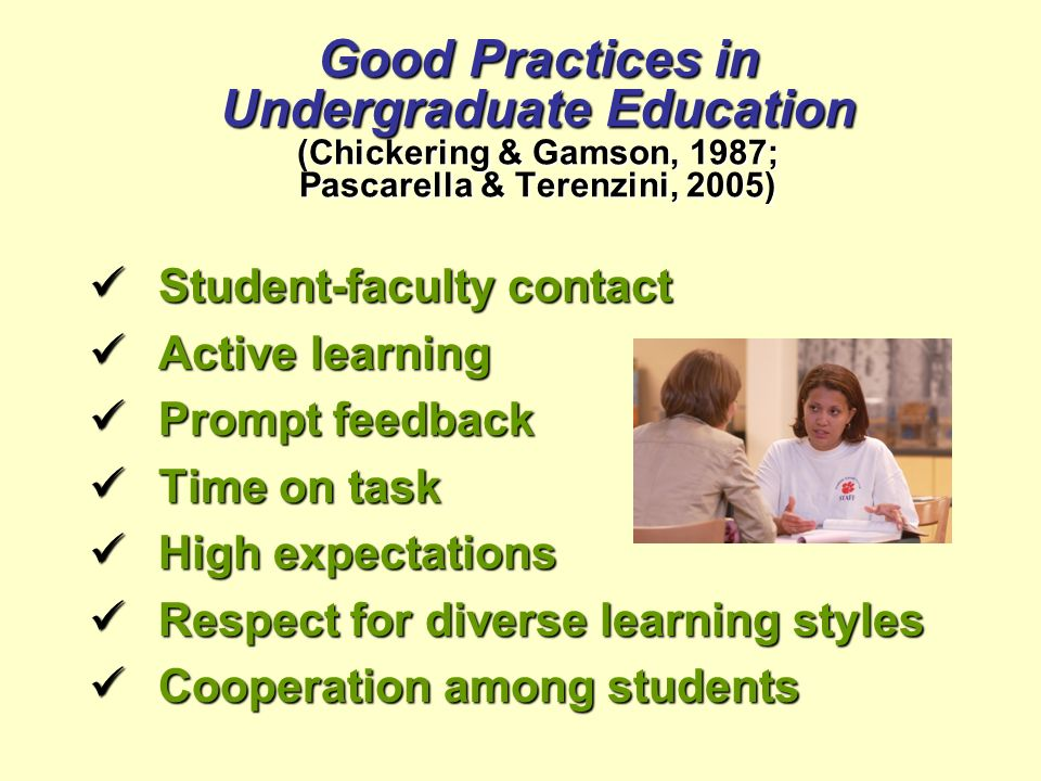 Good Practices in Undergraduate Education (Chickering & Gamson, 1987; Pascarella & Terenzini, 2005) Student-faculty contact Student-faculty contact Ac