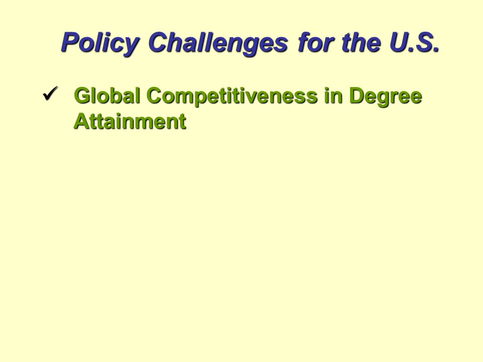 Policy Challenges for the U.S. Global Competitiveness in Degree Attainment Global Competitiveness in Degree Attainment