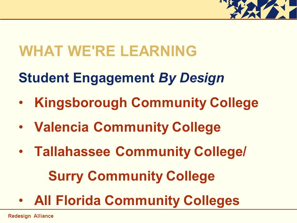 Redesign Alliance WHAT WE'RE LEARNING Student Engagement By Design Kingsborough Community College Valencia Community College Tallahassee Community Col