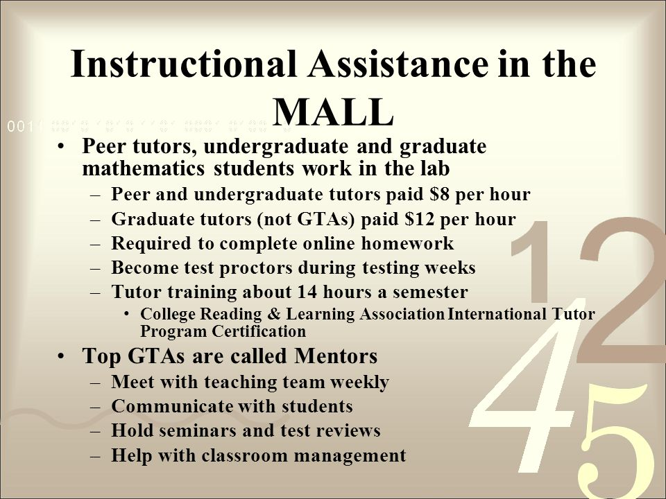 Instructional Assistance in the MALL Peer tutors, undergraduate and graduate mathematics students work in the lab –Peer and undergraduate tutors paid