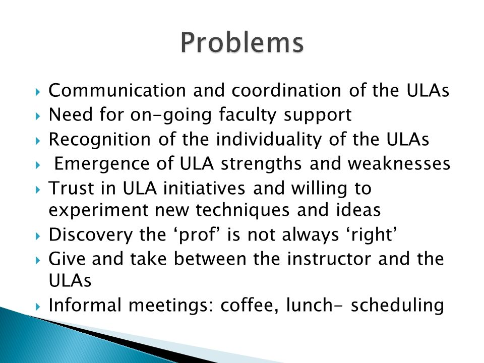 Communication and coordination of the ULAs Need for on-going faculty support Recognition of the individuality of the ULAs Emergence of ULA strengths and weaknesses Trust in ULA initiatives and willing to experiment new techniques and ideas Discovery the prof is not always right Give and take between the instructor and the ULAs Informal meetings: coffee, lunch- scheduling