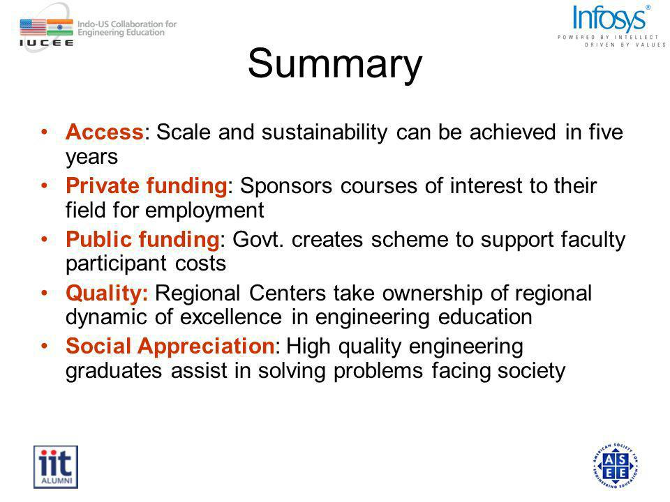 Summary Access: Scale and sustainability can be achieved in five years Private funding: Sponsors courses of interest to their field for employment Public funding: Govt.
