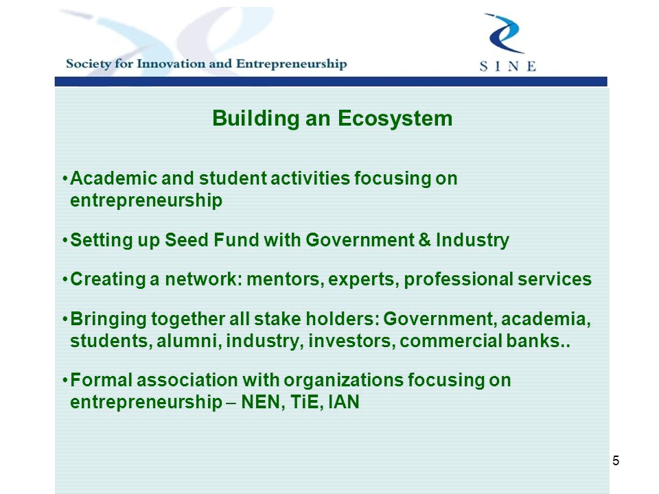 5 Building an Ecosystem Academic and student activities focusing on entrepreneurship Setting up Seed Fund with Government & Industry Creating a network: mentors, experts, professional services Bringing together all stake holders: Government, academia, students, alumni, industry, investors, commercial banks..