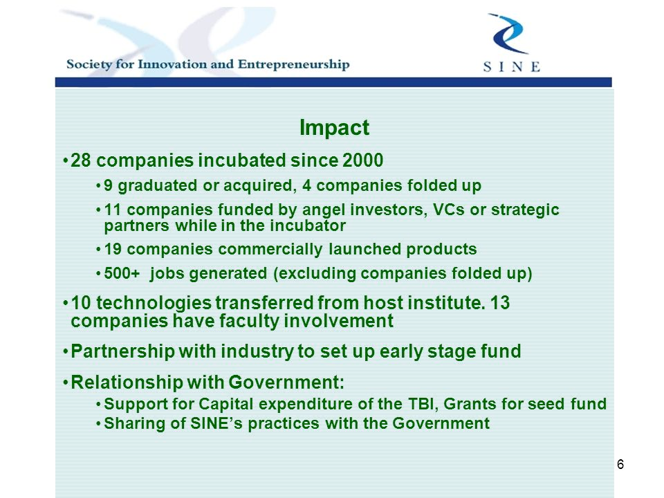 6 Impact 28 companies incubated since 2000 9 graduated or acquired, 4 companies folded up 11 companies funded by angel investors, VCs or strategic partners while in the incubator 19 companies commercially launched products 500+ jobs generated (excluding companies folded up) 10 technologies transferred from host institute.