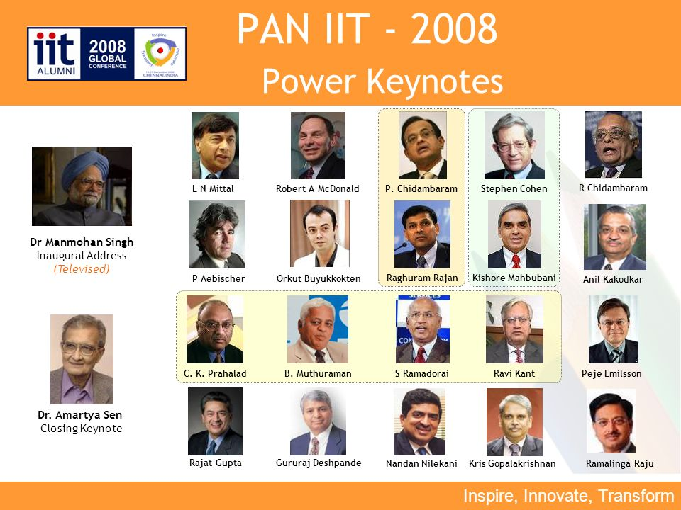 Inspire, Innovate, Transform PAN IIT - 2008 Power Keynotes L N MittalRobert A McDonald Anil Kakodkar Dr Manmohan Singh Inaugural Address (Televised) C.