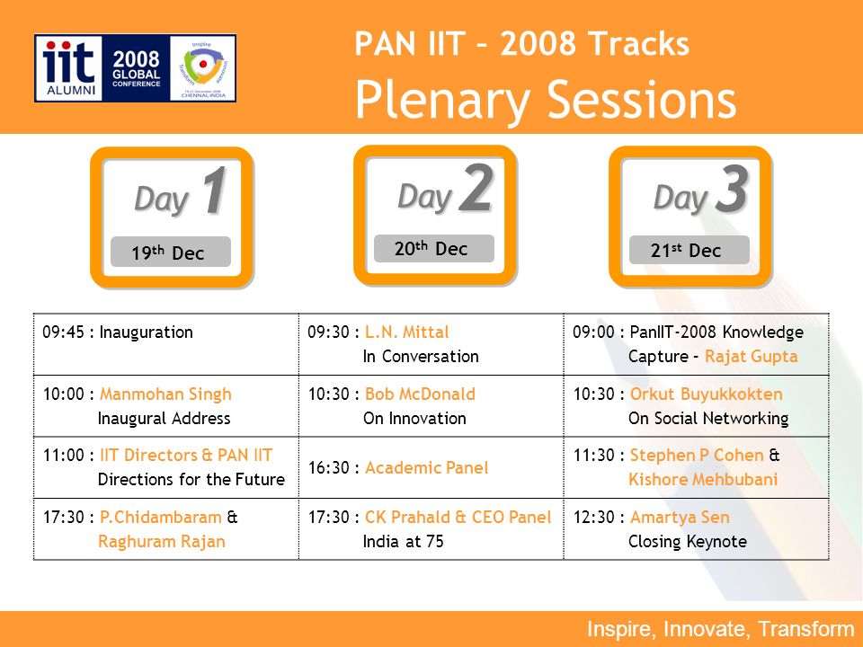 Inspire, Innovate, Transform PAN IIT – 2008 Tracks Plenary SessionsDay1 19 th Dec Day2 20 th Dec Day3 21 st Dec 09:45 : Inauguration 09:30 : L.N.