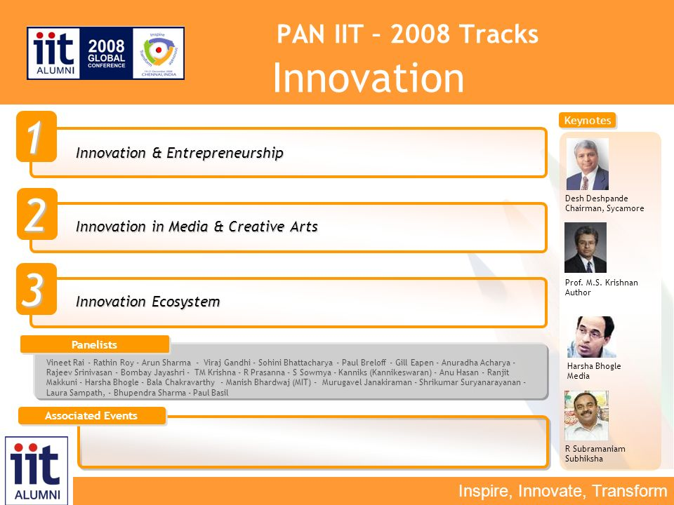 Inspire, Innovate, Transform PAN IIT – 2008 Tracks Innovation Innovation & Entrepreneurship 1 2 3 Innovation in Media & Creative Arts Innovation Ecosystem Harsha Bhogle Media Prof.