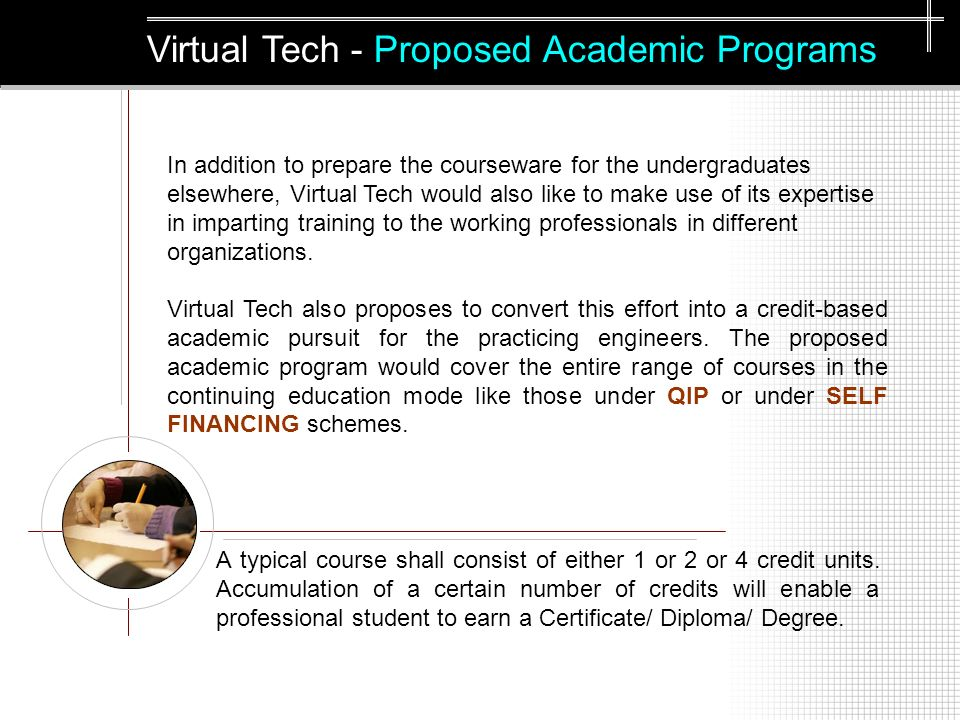 Virtual Tech - Proposed Academic Programs A typical course shall consist of either 1 or 2 or 4 credit units.