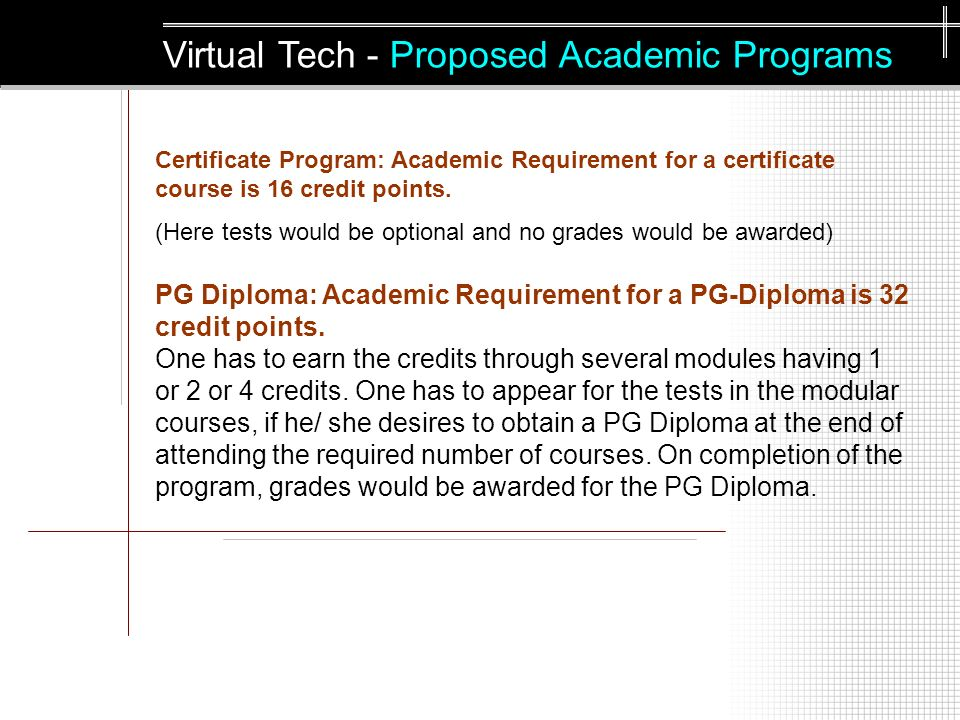 Certificate Program: Academic Requirement for a certificate course is 16 credit points.