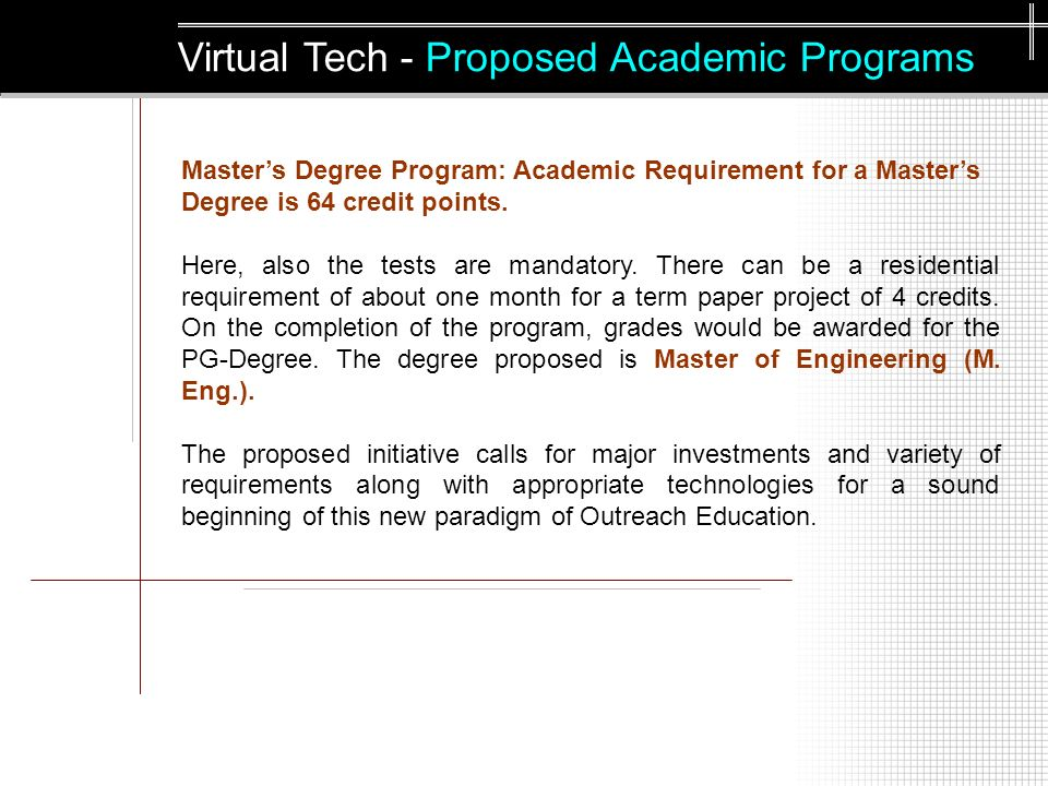 Masters Degree Program: Academic Requirement for a Masters Degree is 64 credit points.