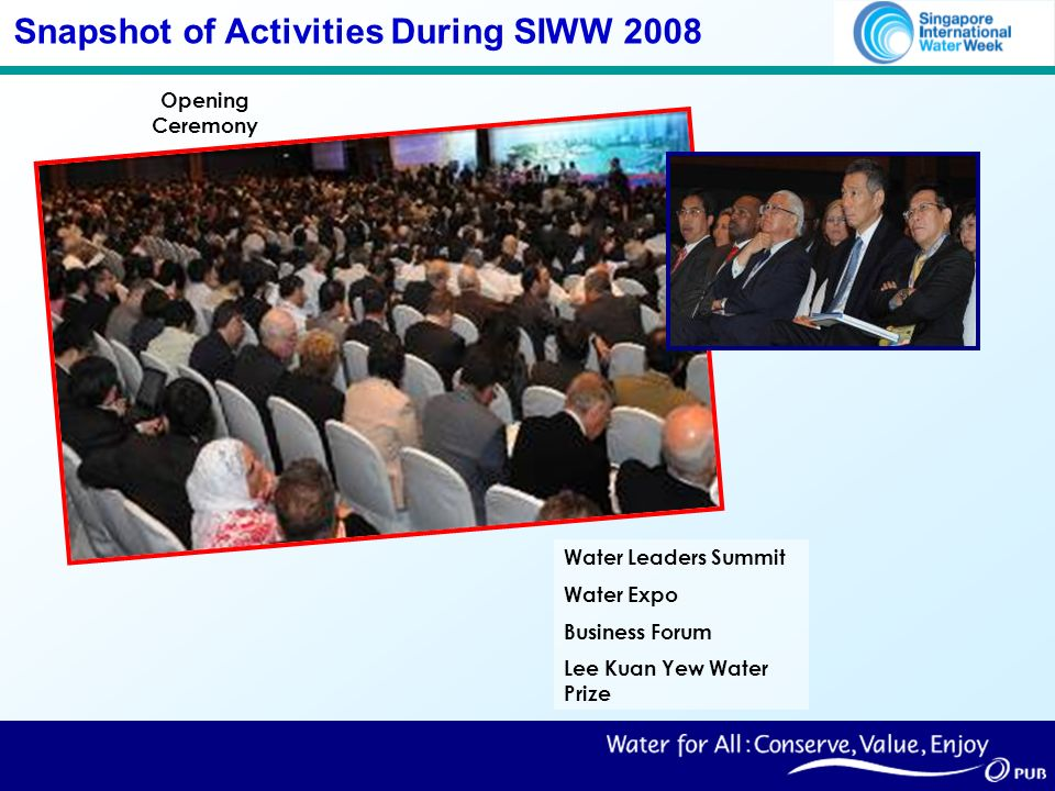 Snapshot of Activities During SIWW 2008 Opening Ceremony Water Leaders Summit Water Expo Business Forum Lee Kuan Yew Water Prize