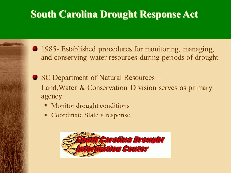 Local Drought Committee Local Drought Plans and Ordinances State Drought Program State Agency Drought Committee Drought Act and Regulations