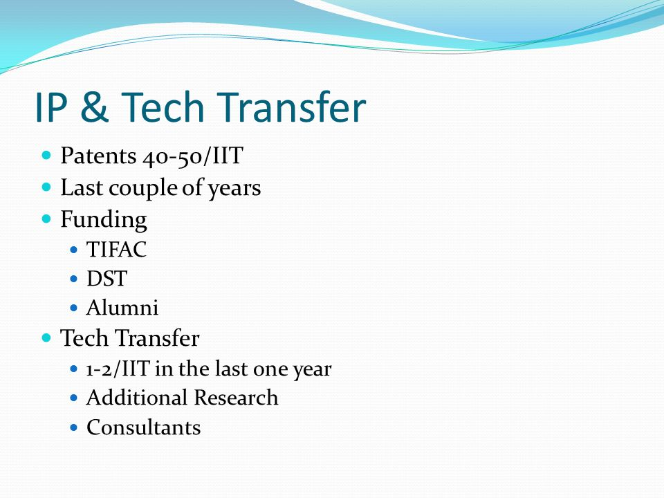 IP & Tech Transfer Patents 40-50/IIT Last couple of years Funding TIFAC DST Alumni Tech Transfer 1-2/IIT in the last one year Additional Research Consultants