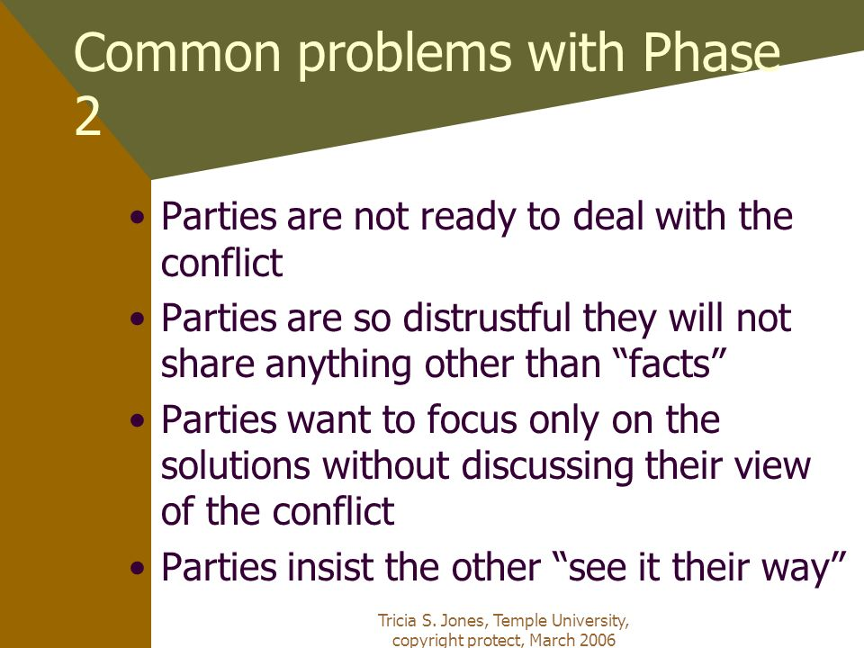 Tricia S. Jones, Temple University, copyright protect, March 2006 Common problems with Phase 2 Parties are not ready to deal with the conflict Parties