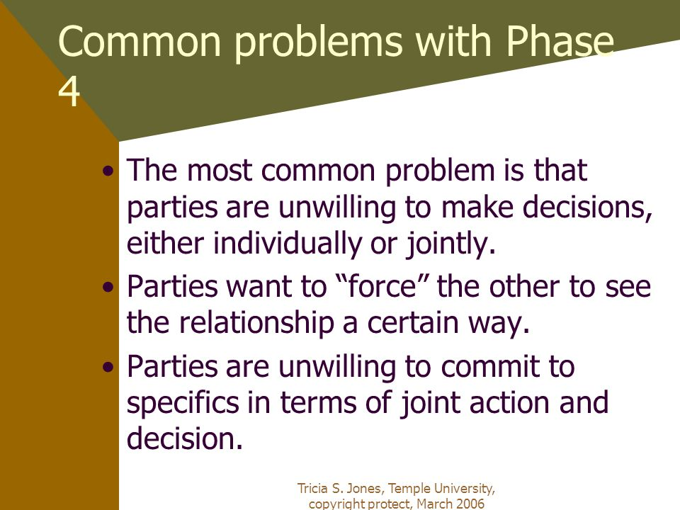 Tricia S. Jones, Temple University, copyright protect, March 2006 Common problems with Phase 4 The most common problem is that parties are unwilling t
