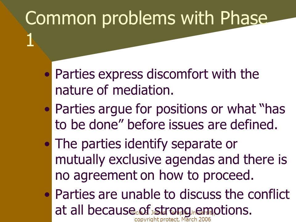 Tricia S. Jones, Temple University, copyright protect, March 2006 Common problems with Phase 1 Parties express discomfort with the nature of mediation