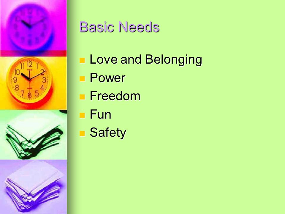 Basic Needs Love and Belonging Love and Belonging Power Power Freedom Freedom Fun Fun Safety Safety