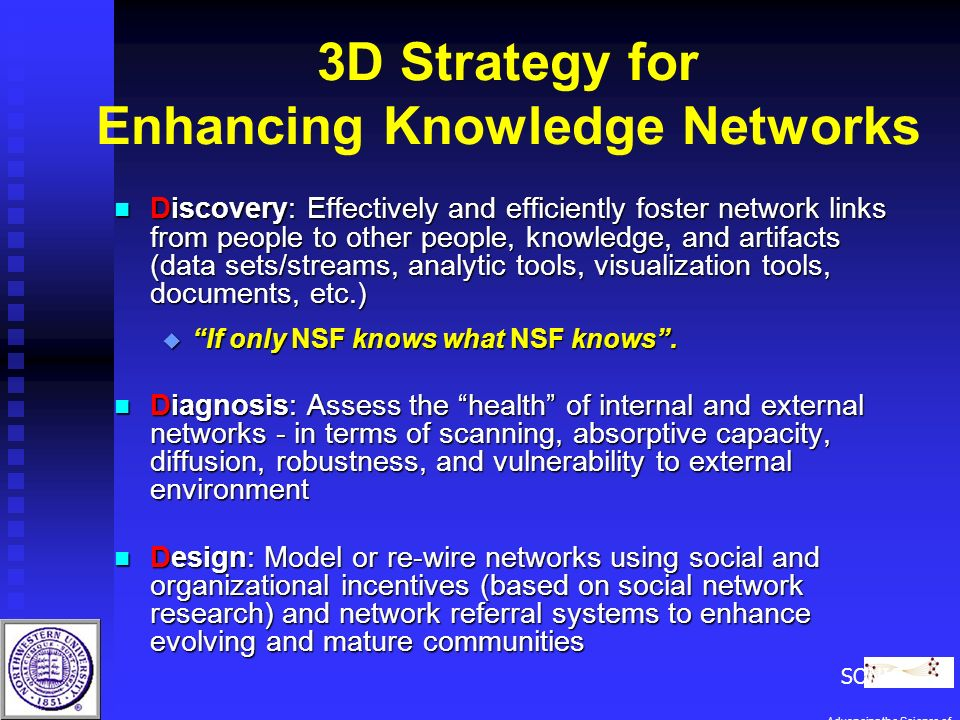 3D Strategy for Enhancing Knowledge Networks n Discovery: Effectively and efficiently foster network links from people to other people, knowledge, and artifacts (data sets/streams, analytic tools, visualization tools, documents, etc.) u If only NSF knows what NSF knows.