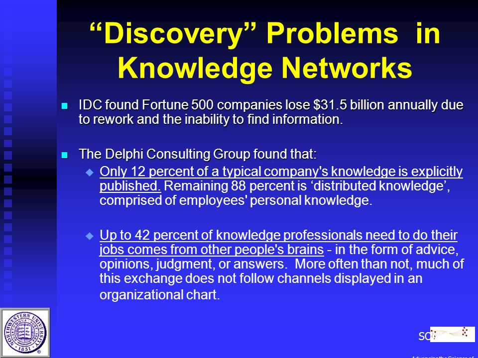 Discovery Problems in Knowledge Networks n IDC found Fortune 500 companies lose $31.5 billion annually due to rework and the inability to find information.