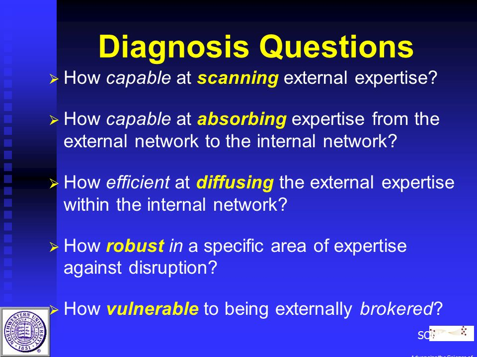 Diagnosis Questions How capable at scanning external expertise.