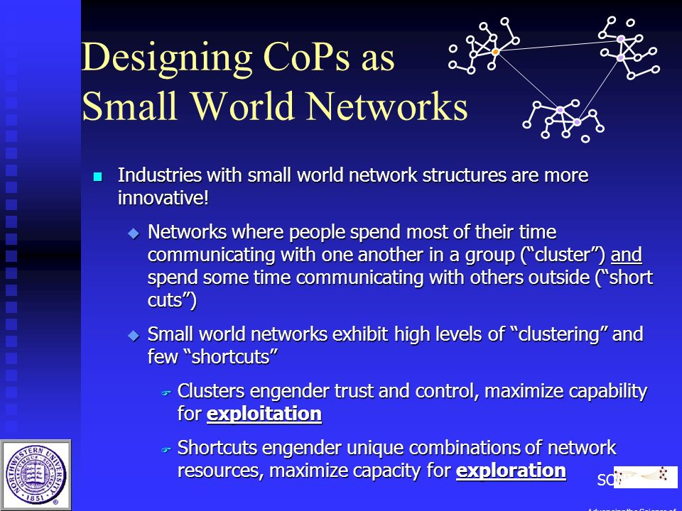 Designing CoPs as Small World Networks n Industries with small world network structures are more innovative.