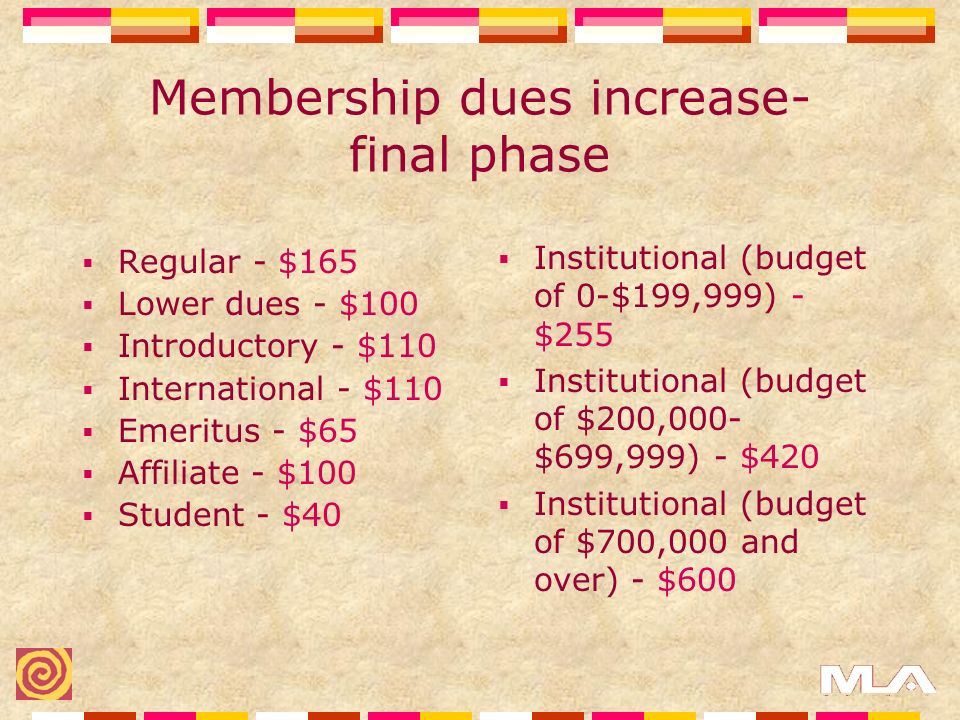 Membership dues increase- final phase Regular - $165 Lower dues - $100 Introductory - $110 International - $110 Emeritus - $65 Affiliate - $100 Student - $40 Institutional (budget of 0-$199,999) - $255 Institutional (budget of $200,000- $699,999) - $420 Institutional (budget of $700,000 and over) - $600