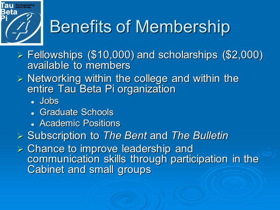 Benefits of Membership Fellowships ($10,000) and scholarships ($2,000) available to members Fellowships ($10,000) and scholarships ($2,000) available to members Networking within the college and within the entire Tau Beta Pi organization Networking within the college and within the entire Tau Beta Pi organization Jobs Jobs Graduate Schools Graduate Schools Academic Positions Academic Positions Subscription to The Bent and The Bulletin Subscription to The Bent and The Bulletin Chance to improve leadership and communication skills through participation in the Cabinet and small groups Chance to improve leadership and communication skills through participation in the Cabinet and small groups