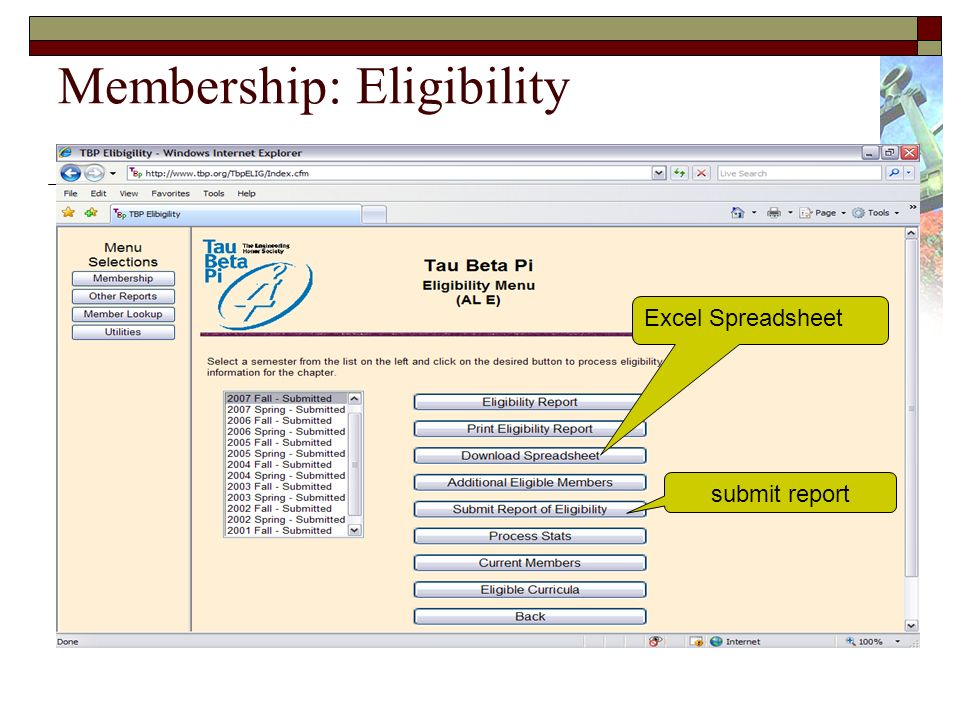 Membership: Eligibility submit report Excel Spreadsheet
