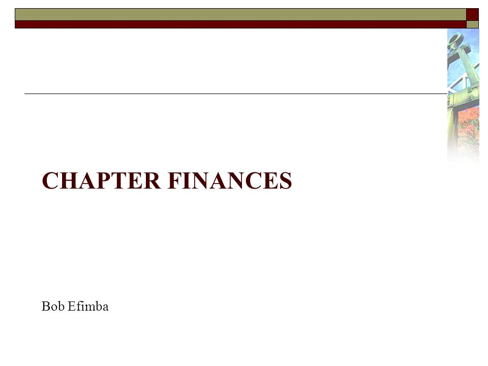 CHAPTER FINANCES Bob Efimba