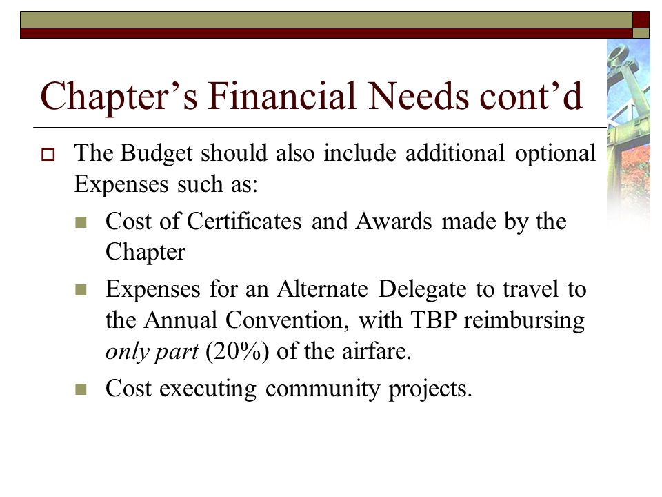Chapters Financial Needs contd The Budget should also include additional optional Expenses such as: Cost of Certificates and Awards made by the Chapter Expenses for an Alternate Delegate to travel to the Annual Convention, with TBP reimbursing only part (20%) of the airfare.