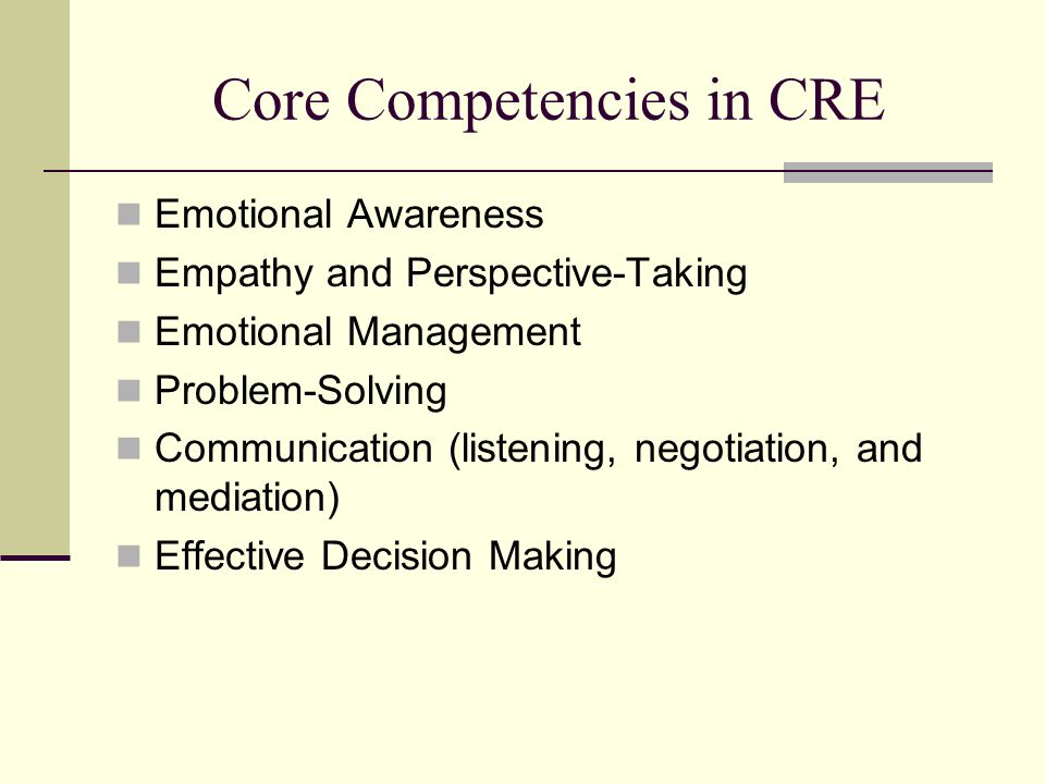 Core Competencies in CRE Emotional Awareness Empathy and Perspective-Taking Emotional Management Problem-Solving Communication (listening, negotiation, and mediation) Effective Decision Making