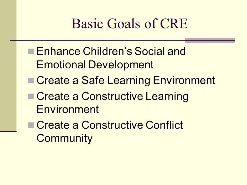 The Benefits of CRE E nhance Students Social and Emotional Development CRE INCREASES Perspective taking (Jones et al, 1998; Lane- Garon, 1998 ) Constructive conflict behavior (Johnson, Johnson, 1996) constructive CR at home and school (Johnson & Johnson 2001; Sandy & Cochran, 2000)