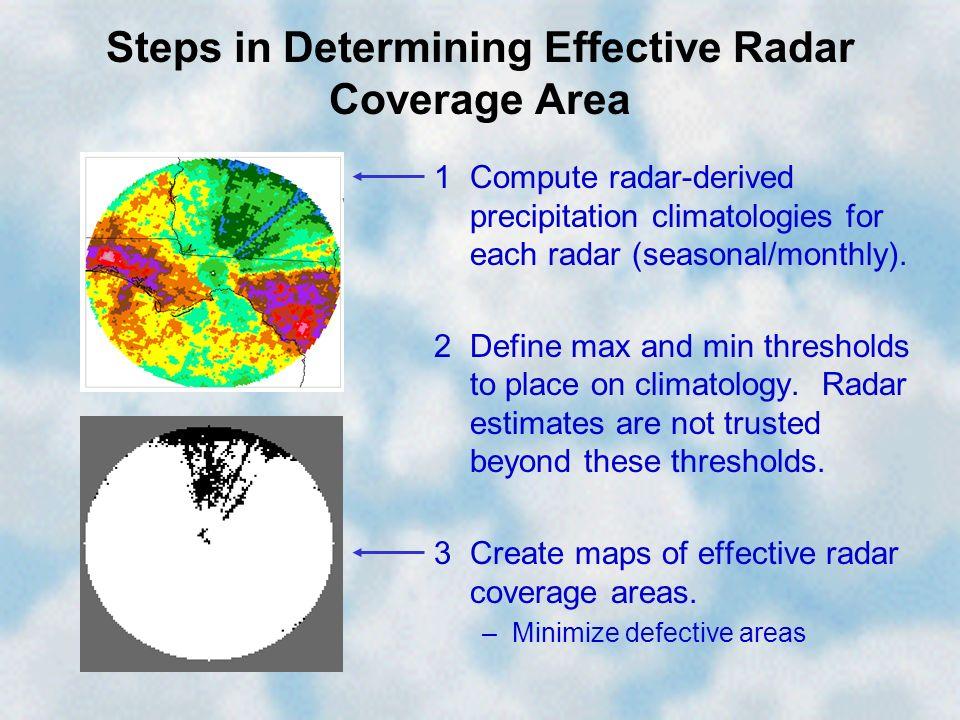 Steps in Determining Effective Radar Coverage Area 1Compute radar-derived precipitation climatologies for each radar (seasonal/monthly). 2Define max a