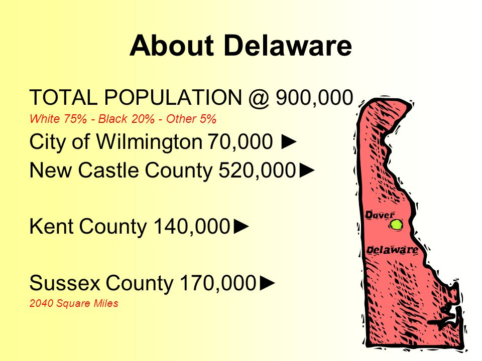 About Delaware TOTAL 900,000 White 75% - Black 20% - Other 5% City of Wilmington 70,000 New Castle County 520,000 Kent County 140,000 Sussex County 170, Square Miles