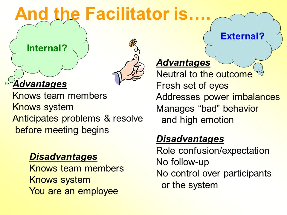 And the Facilitator is…. Internal. External.