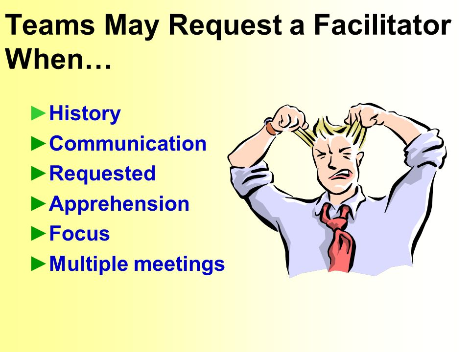 Teams May Request a Facilitator When… History Communication Requested Apprehension Focus Multiple meetings