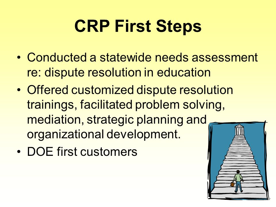 CRP First Steps Conducted a statewide needs assessment re: dispute resolution in education Offered customized dispute resolution trainings, facilitated problem solving, mediation, strategic planning and organizational development.