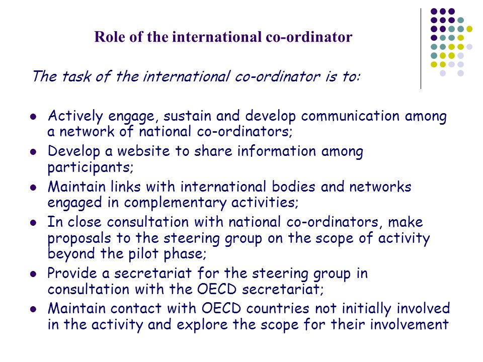 Role of the international co-ordinator The task of the international co-ordinator is to: Actively engage, sustain and develop communication among a ne